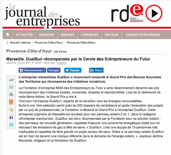 170612-DualSun-Le Journal des Entreprises-Prix MMA