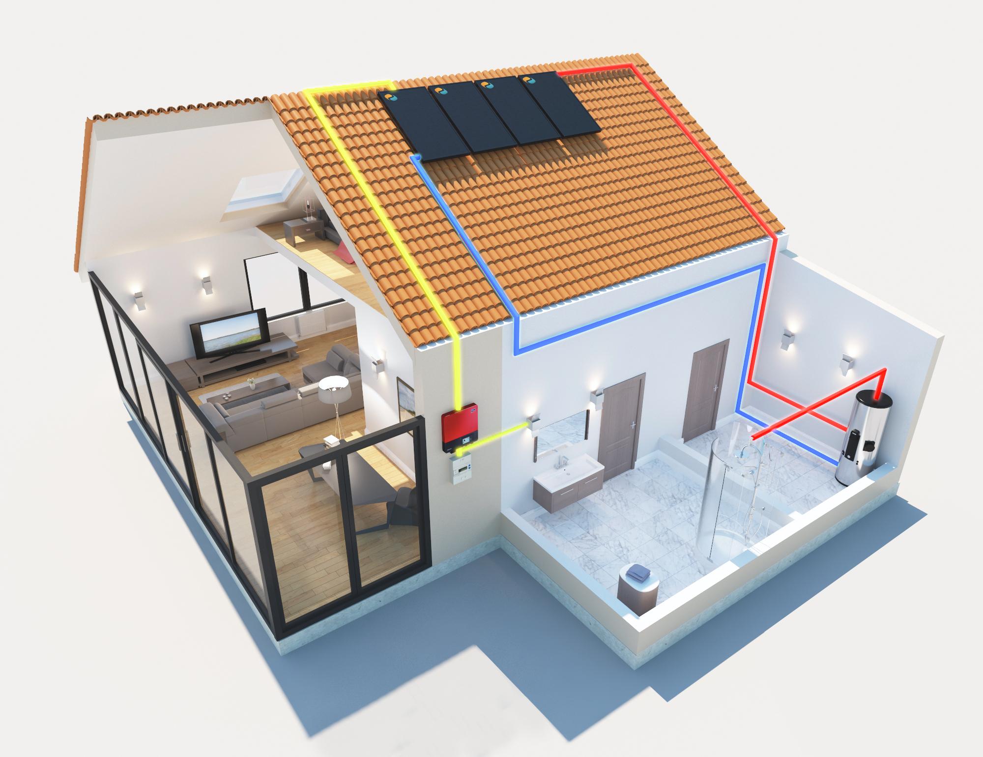 schéma maison autoconsommation photovoltaïque