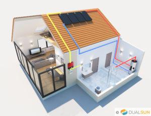 DualSun - Schéma maison 4 panneaux en autoconsommation