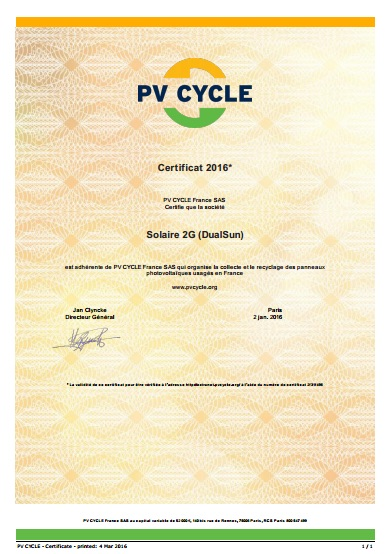 PV CYCLE 2016 - certificat